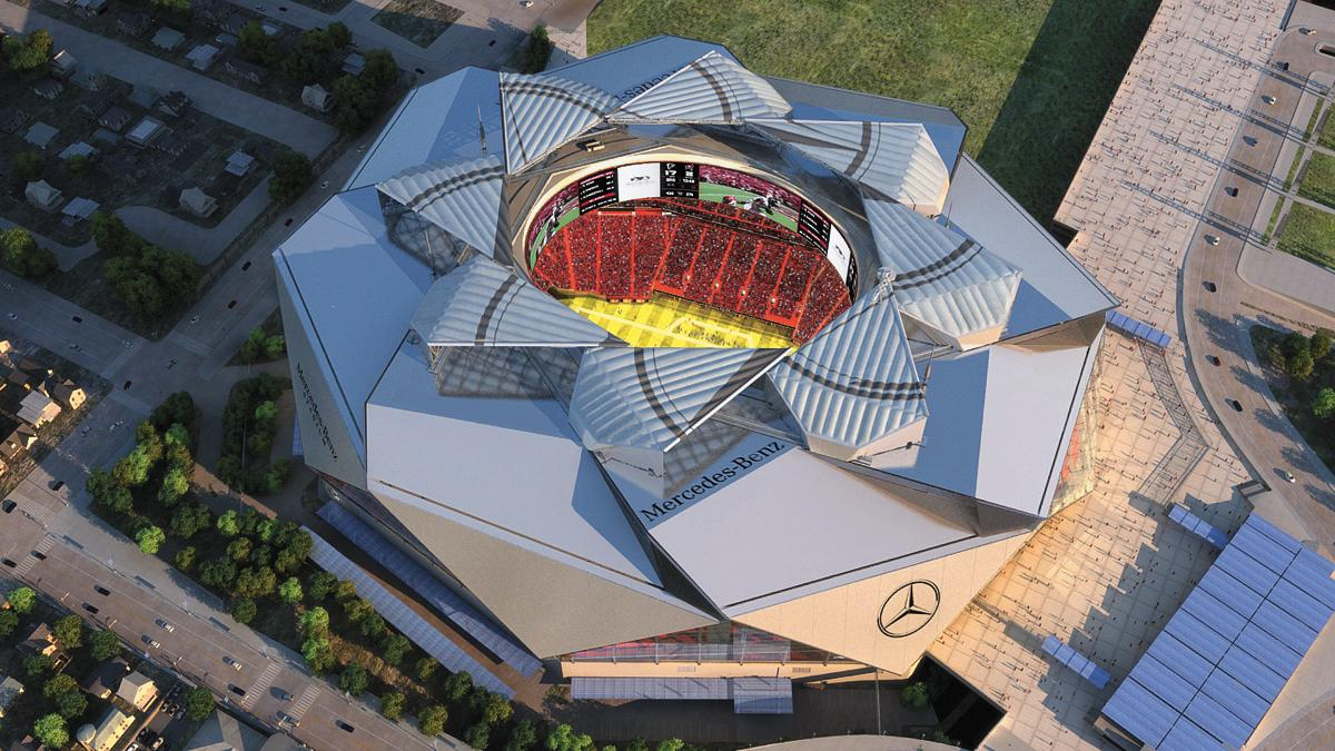 hight resolution of roof of mercedes benz stadium entering final stage of completion atlanta business chronicle