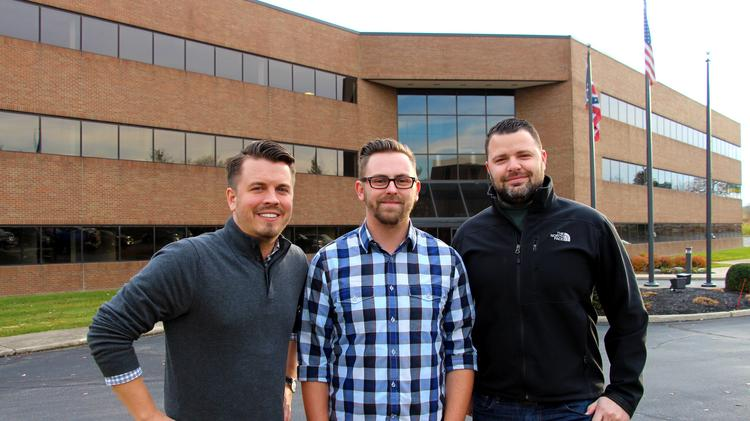 Gem City Business Solutions signed a lease for a new office in Fairborn. The Wilderness creative management team, under the umbrella of Gem City Business Solutions, pictured from left is Richard Kaiser, Josh Moody, and Chris Beach.