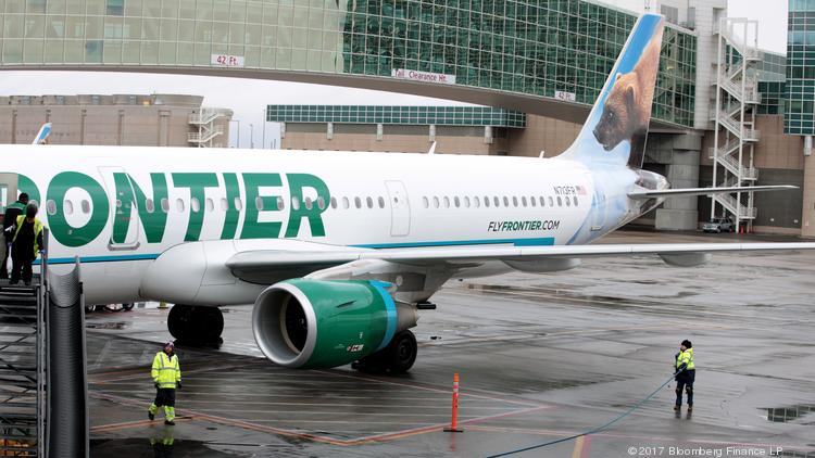 A Frontier Airlines jet at Denver International Airport.
