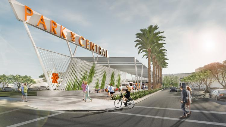 Rendering of renovations and modernization plans for Park Central Mall in Phoenix
