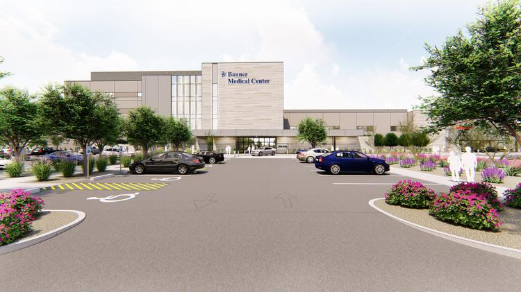 A rendering of a hospital Banner Health plans to build in Chandler.