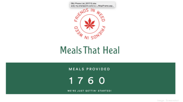 Friends in Weed has so far donated more than 1,700 meals.