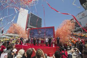 The ribbon at Levi's Stadium in Santa Clara officially opened the 49ers' new home.