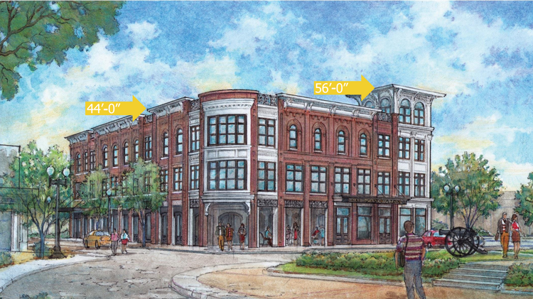 This rendering depicts the $14 million overhaul planned for the First Tennessee building at 231 Public Square, in downtown Franklin. The figures note how developers want to make a corner of the building taller, to accommodate a rooftop venue.