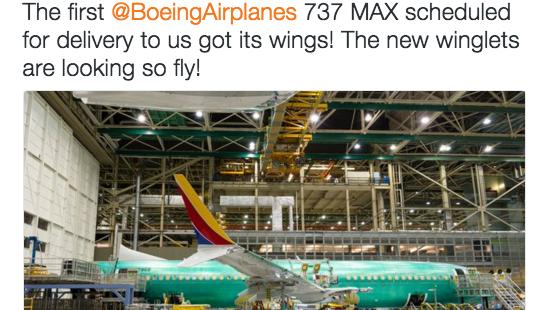 Southwest Airlines, primera 737 MAX a Boeing obtuvo sus alas esta semana.
