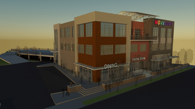 This rendering depicts the forthcoming three-story building that NovaCopy will make its new Nashville headquarters. The company is moving from SoBro to 4100 Charlotte Ave.