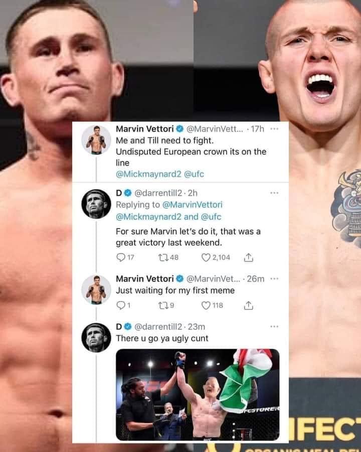bilde av to fightere fra UFC hvor dem slenger skit rundt en meldingslogg der darren till mobber marvin vettori