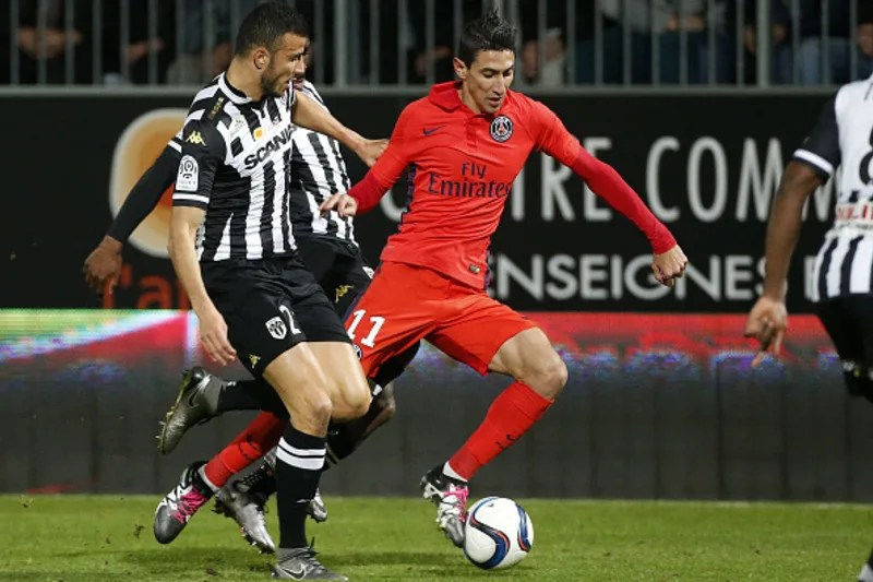 ANGERS, FRANCE - DECEMBER 1: Angel Di Maria of PSG in action during the French Ligue 1 match between Angers SCO and Paris Saint-Germain (PSG) at Stade Jean Bouin on December 1, 2015 in Angers, France. (Photo by Jean Catuffe/Getty Images)