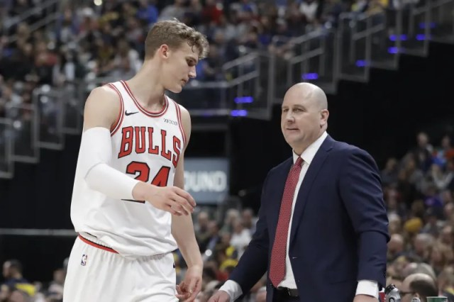 Chicago Bulls head coach Jim Boylen talks with Lauri Markkanen during the second half of an NBA basketball game against the Indiana Pacers, Tuesday, Dec. 4, 2018, in Indianapolis. Indiana won 96-90. (AP Photo/Darron Cummings)