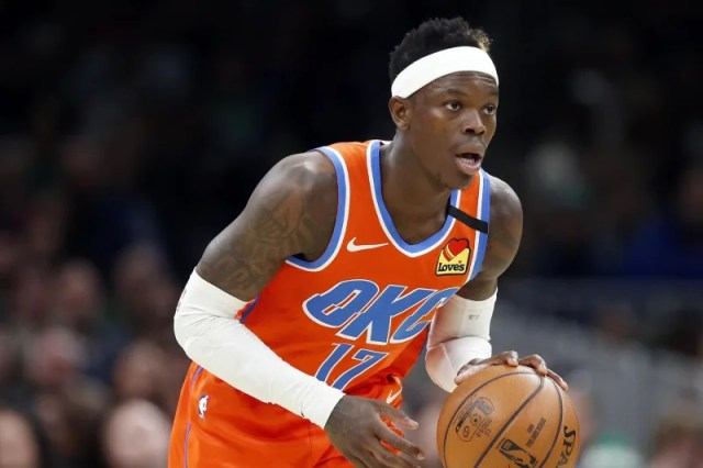 Oklahoma City Thunder's Dennis Schroder plays against the Boston Celtics during an NBA basketball game, Sunday, March, 8, 2020, in Boston. (AP Photo/Michael Dwyer)