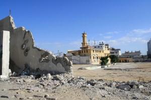 Sönderbombat kvarter i Gaza city, från Israels attacker 2008-2009.