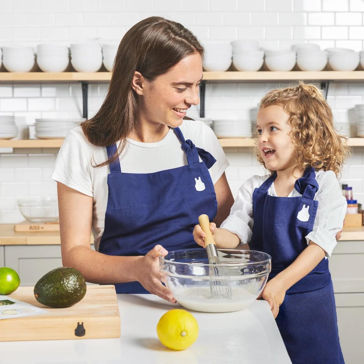 kitchen apron for kids mosaic backsplash the children s blue