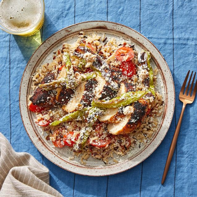 Mexican-Style Chicken & Rice with Shishito Peppers, Tomatoes & Cotija Cheese
