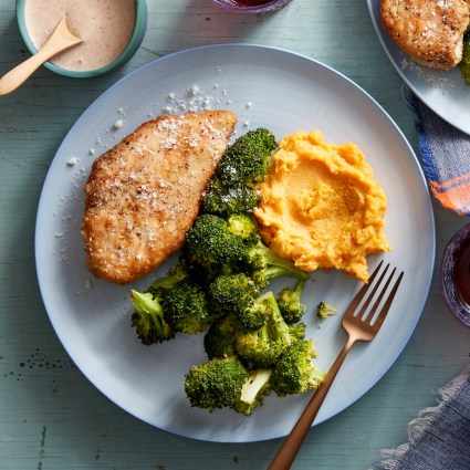 Parmesan-Crusted Chicken with Mashed Sweet Potatoes & Roasted Broccoli