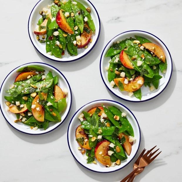 Snow Pea & Nectarine Salad with Grana Padano & Pistachios