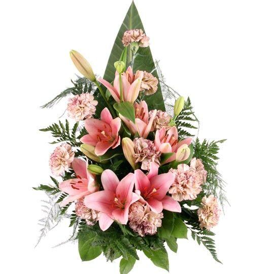 Trauerstrau  Grabstrau mit Lilien und Nelken mit