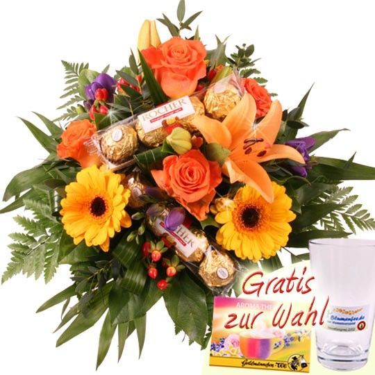 Der schokoladiggoldene Blumenstrau  Blumen und