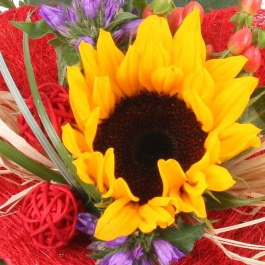 Blumenstrau Sonne im Herzen mit 3 Gratiszugaben Ihrer Wahl  Blumen online verschicken auf www