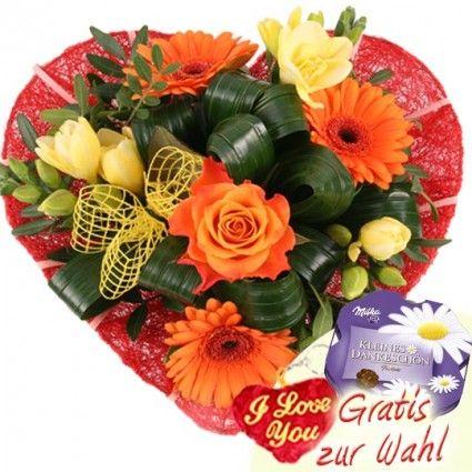 Blumenstrau  BltenHerz  Blumen zum Muttertag  Blumen