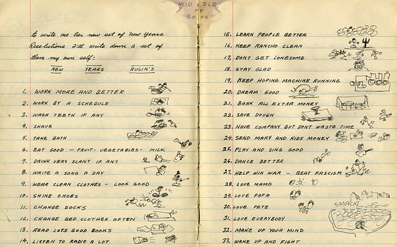 Woody Guthrieu0027s New Yearu0027s Resolutions 1942