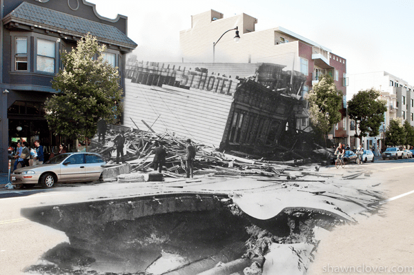 composites of 1906 san francisco earthquake photos and today boing boing