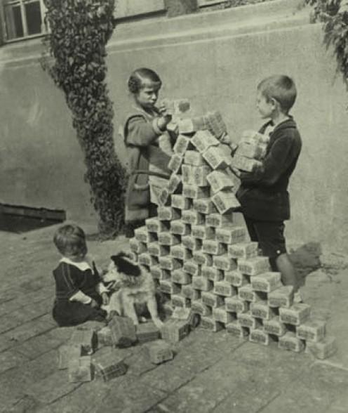 German children use bundled inflationary money as blocks, 1923 ...
