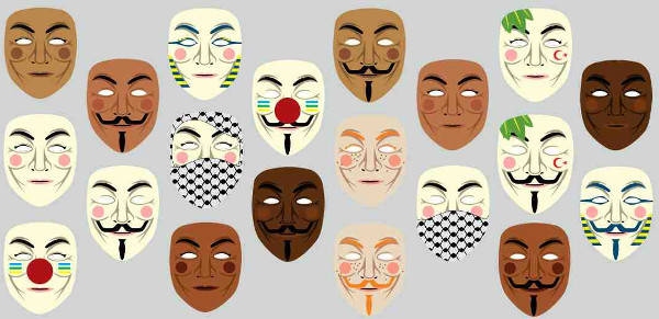Guy Fawkes masks for people of many nations, genders and backgrounds