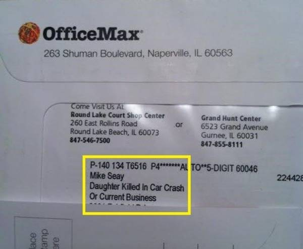 """Officemax sends junkmail addressed to """"Daughter Killed In Car Crash"""""""