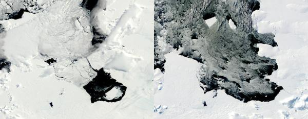 This combination of Dec. 10, 2013, left, and March 11, 2014 photos provided by NASA shows a large iceberg separating from the Pine Island Glacier and traveling across Pine Island Bay in Antarctica. (NASA)
