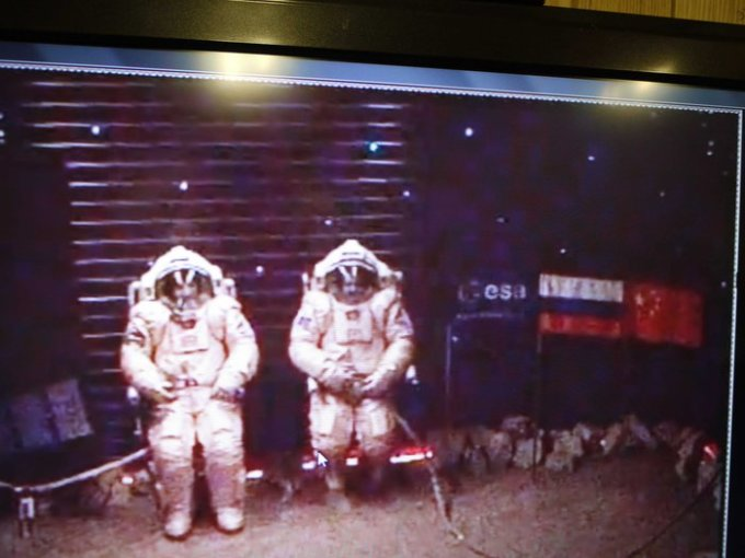 Photo: ESA. Diego Urbina and Alexandr Smoleevskiy resting before starting their first 'Marswalk' on 14 February 2011.