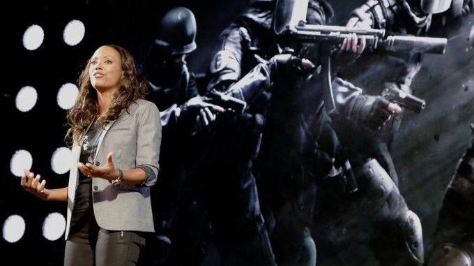 Actress and gamer Aisha Tyler hosted game developer Ubisoft's press conference at the Electronic Entertainment Expo in Los Angeles. The company was recently criticized for not animating female assassins in one of its new games. Lucy Nicholson/Reuters