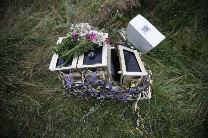 Flowers left on debris of flight MH17 (Reuters)