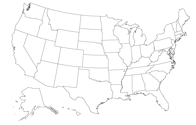 Map of U.S. state names that end with the letter