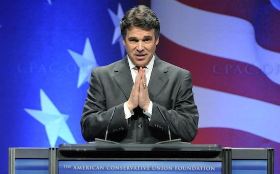 Texas Governor Rick Perry makes remarks at the Conservative Political Action conference (CPAC) in Washington, February 11, 2011.  REUTERS