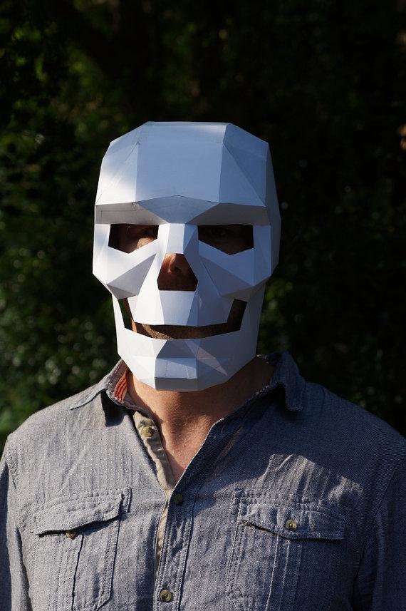 Polygon paper skull mask  Boing Boing