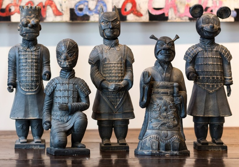 Fantastic Terracotta Warrior statues of Mickey Mouse, Bart, etc