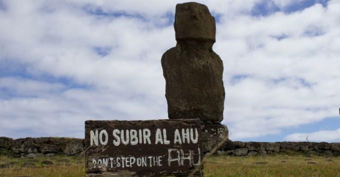 Moai on an ahu.