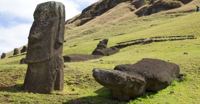 Fallen moai on Easter Island.