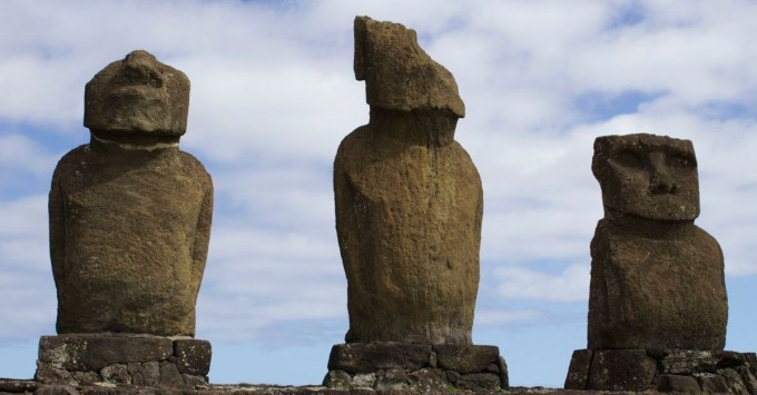 Moai repaired with concrete.