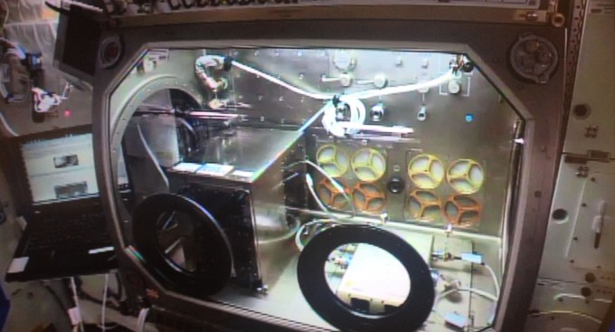 The Made In Space printer, up and running on the ISS.