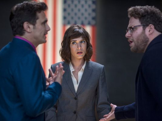 "Oh noes! A scene from ""The Interview,"" which you may never see. [Sony Pictures]"