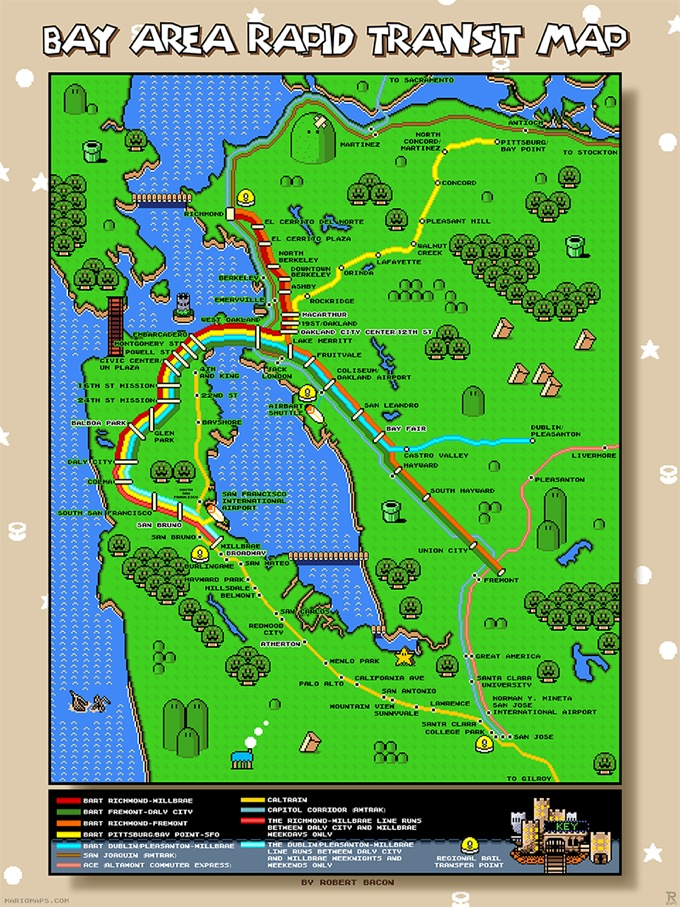 San Francisco Bay Area Super Mario World map complete with BART