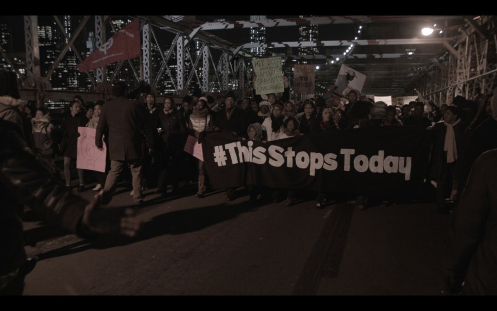 On Thursday, December 4, protesters march over the Brooklyn Bridge with ThisStopsToday.org and the family of Ramarley Graham.