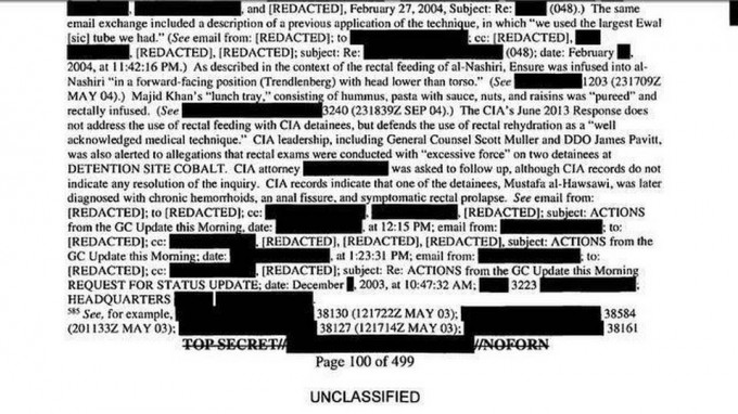 A portion of page 100 of the released summary and findings of the so-called Senate Report.