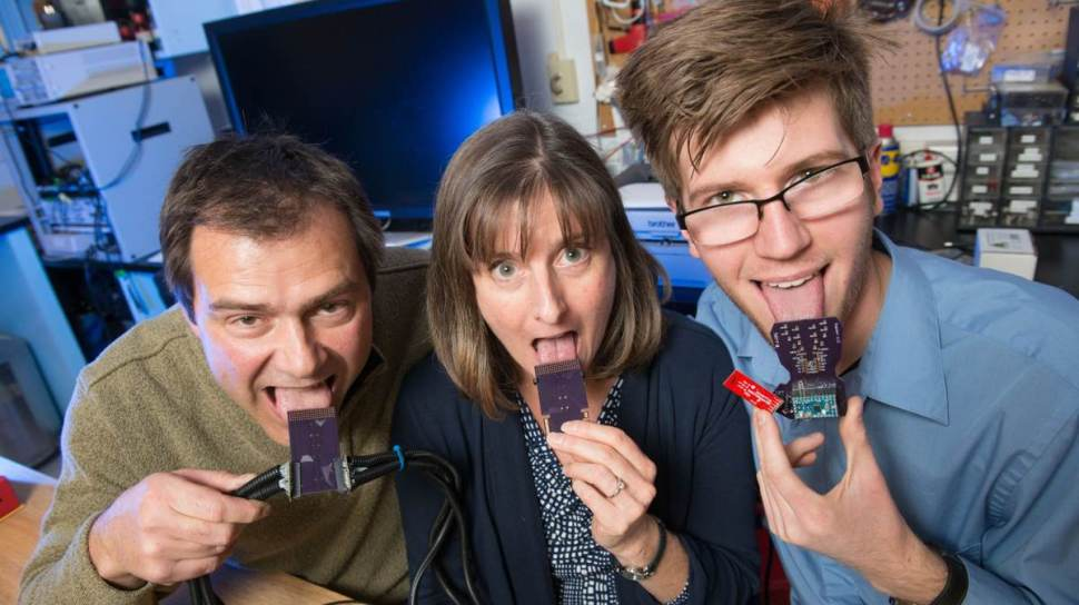 Dr. John Williams, a professor of mechanical engineering; Dr. Leslie Stone-Roy, a professor of neuroscience; and JJ Moritz, a graduate student, are developing a device to hear with your tongue.