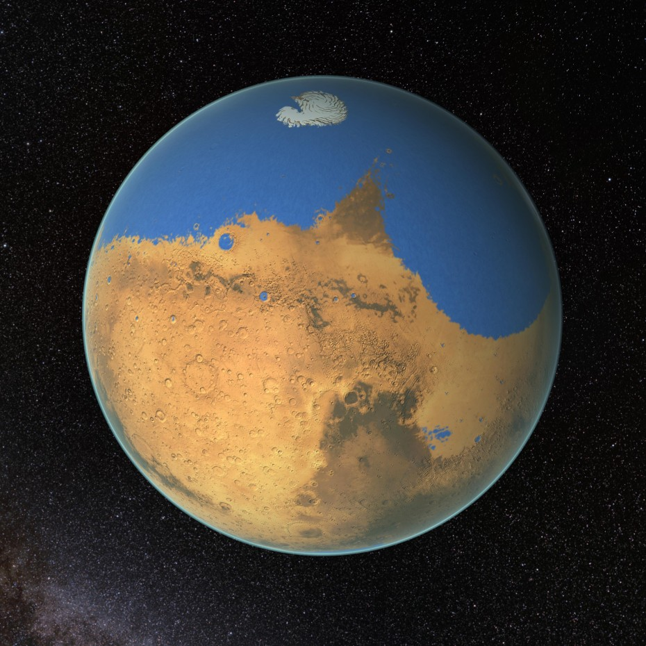 NASA scientists have determined that a primitive ocean on Mars held more water than Earth's Arctic Ocean and that the Red Planet has lost 87 percent of that water to space. Image: NASA/GSFC