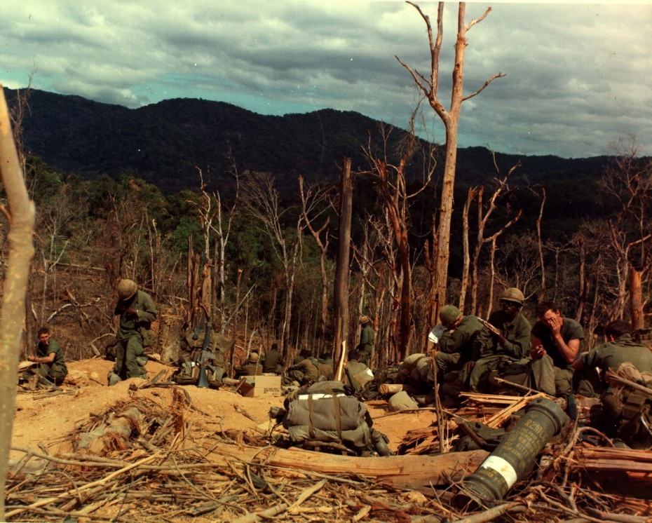U.S. soldiers of the 3rd Battalion, 12th Infantry, 4th Infantry Division take a break during bunker construction on Hill 530 in Vietnam, November 25, 1967.  REUTERS/Courtesy U.S. Army