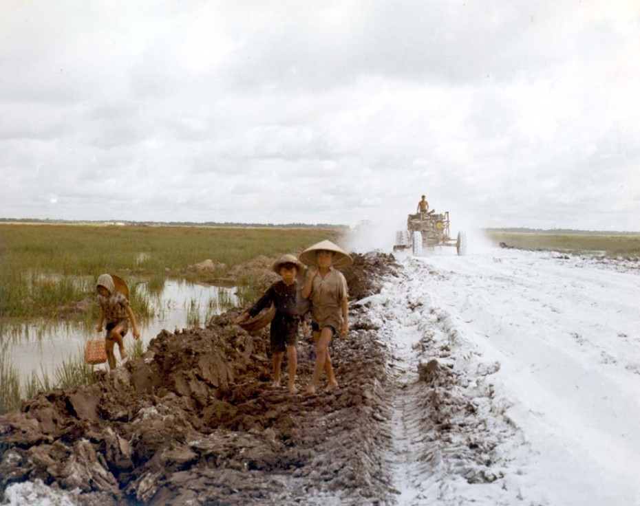 U.S. Army engineers building a road in the Vietnamese Delta during the Vietnam war, date unknown.   REUTERS/Courtesy U.S. Army