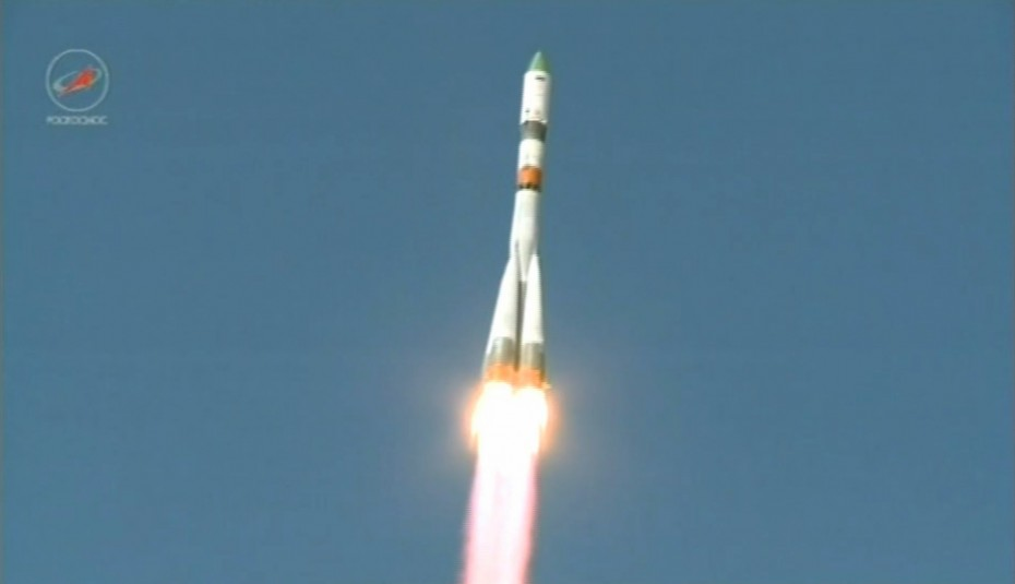 A Soyuz rocket launches the unmanned Progress 59 cargo ship from Baikonur Cosmodrome, Kazakhstan on April 28, 2015 on a mission to deliver supplies to the International Space Station. Progress 59 reached orbit, but then malfunctioned. Photo: Roscosmos (Russian Federal Space Agency)