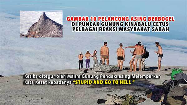 A viral image making the rounds in Malaysia shows the Western tourists stripping down for selfies at a sacred mountain in Borneo.